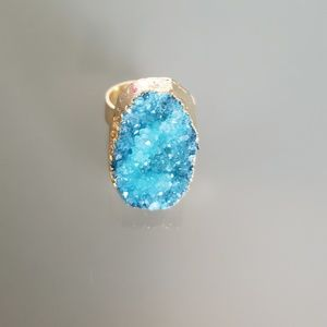 Gold plated druzy stone crystal ring